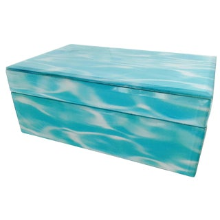 Glass Jewelry Keepsake Trinket Box Blue and White For Sale