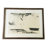 Image of Abstract Expressionist Black and White 1960s Limited Edition Lithograph Art Print Framed and Artist Signed For Sale