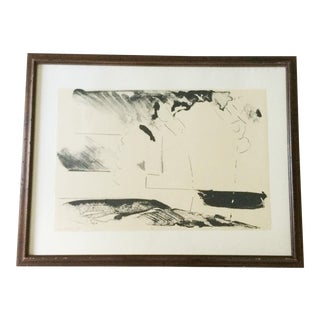Abstract Expressionist Black and White 1960s Limited Edition Lithograph Art Print Framed and Artist Signed For Sale