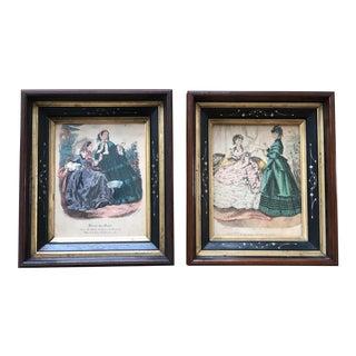 Vintage Victorian Fashion Lithograph Prints - a Pair For Sale