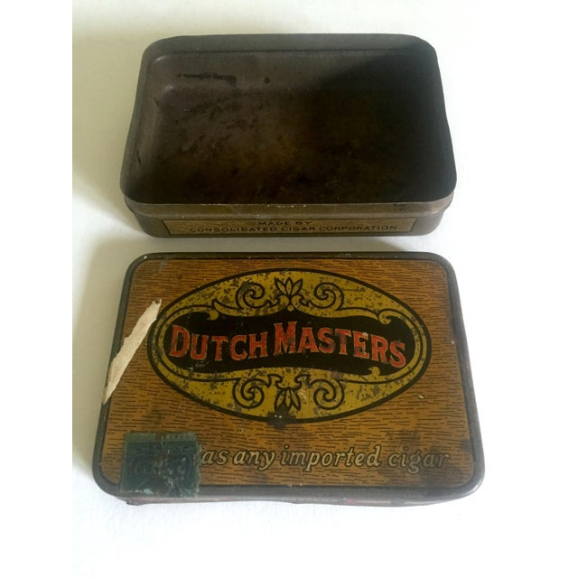 """Red Vintage Early 1900's """"Dutch Masters"""" Lithograph Cigar Tin Box For Sale - Image 8 of 11"""