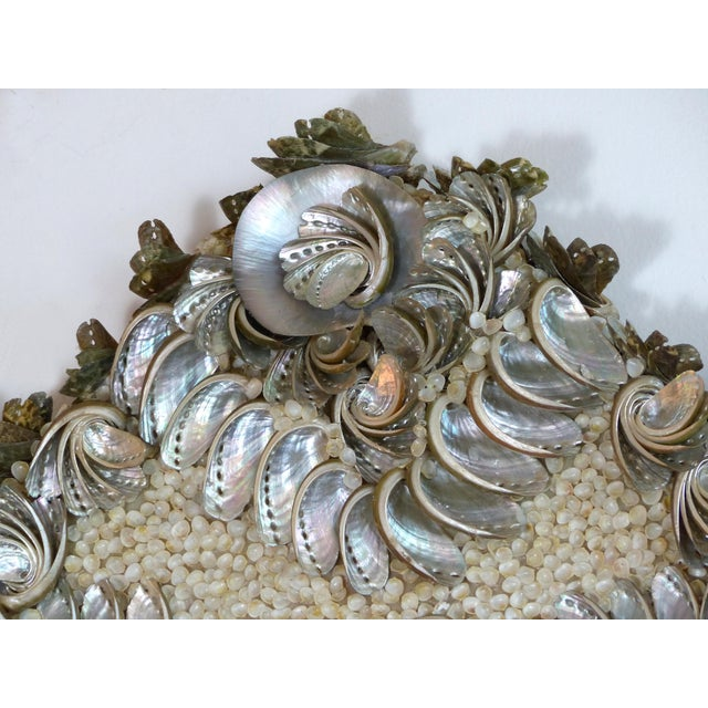 Silver Palm Beach Chic Mother-Of-Pearl Shell Encrusted Mirror For Sale - Image 8 of 13