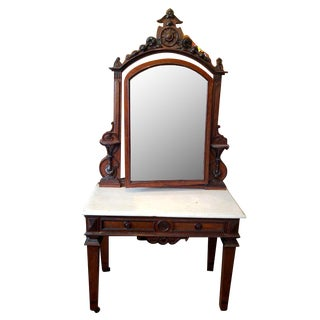 Early 20th Century Victorian Marble Top Walnut Dressing Table For Sale