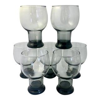 Mid-Century Modern Smoked Blown Glassware - Set of 7 For Sale