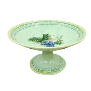 Antique Majolica Pedestal Dish For Sale