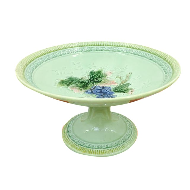 Antique Majolica Pedestal Dish For Sale