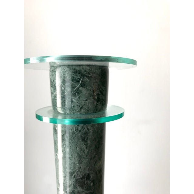 Post Modern Green Marble and Lucite Candlestick Holders - a Pair For Sale - Image 4 of 6