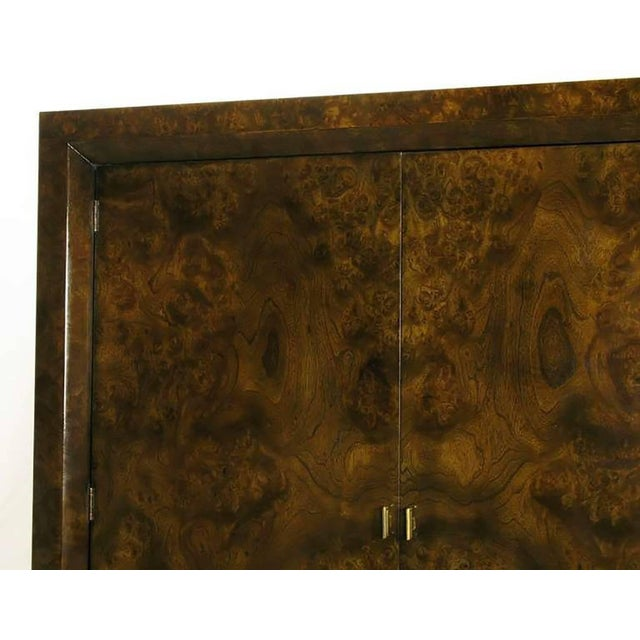 Brown Mastercraft Burl and Acid Etched Brass Wardrobe Cabinet For Sale - Image 8 of 9