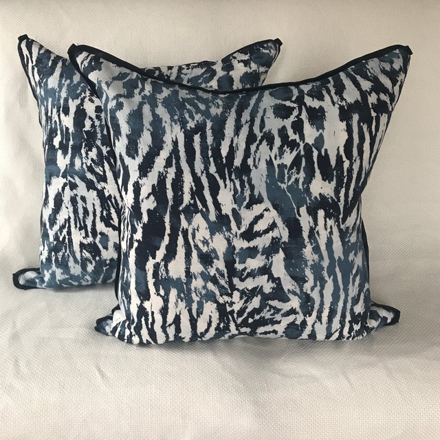 A chic pair of Pillows custom made in a beautiful linen fabric by Schumacher. Pattern is from the Celerie Kemble...
