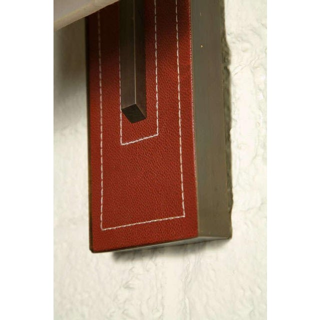 Paul Marra Leather Back Sconce with Tapered Linen Shade - Image 6 of 6