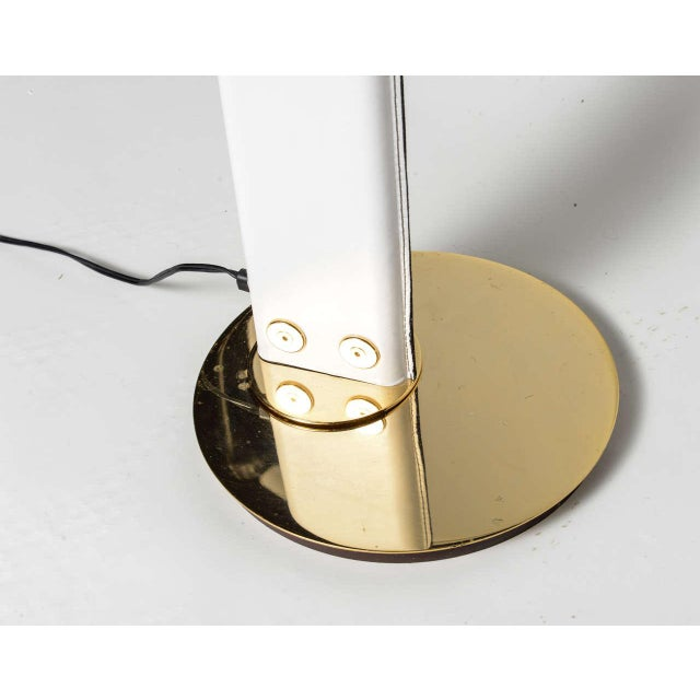 1980s An Italian Stitched Leather and Gold Plated Floor Lamp For Sale - Image 5 of 11
