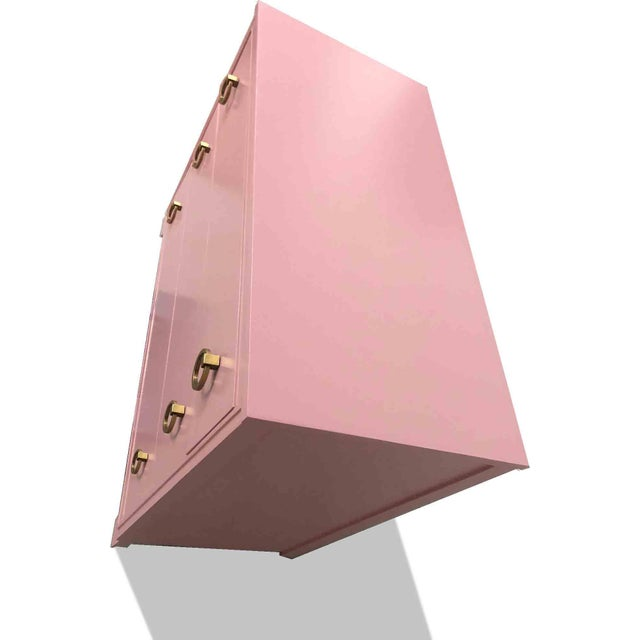 1960s 1960s Mid-Century Modern Pink Ring Pull Chest by Broyhill For Sale - Image 5 of 10