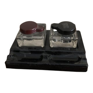 Art Deco Heavy Black Glass Double Inkwell & Pen Holder For Sale