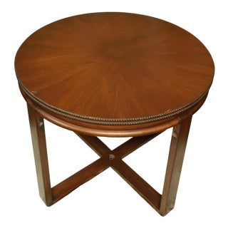 1950s Mid Century Modern Round Irwin Walnut Side or Card Table For Sale