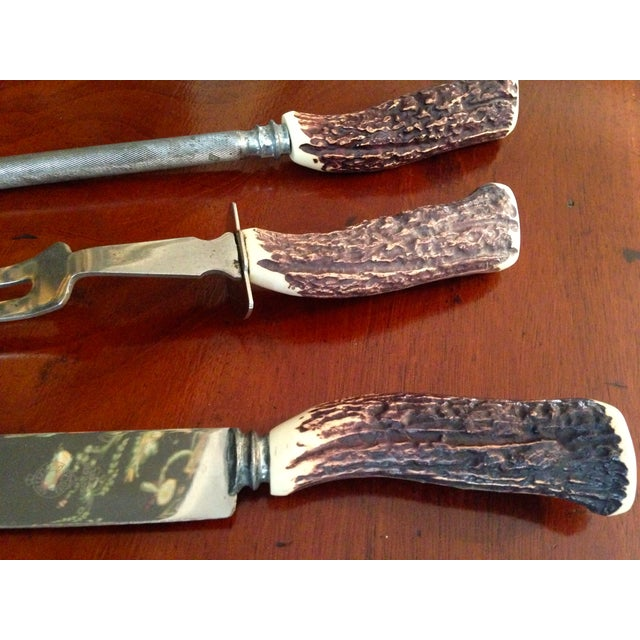 3 Piece English Stag-Horn Carving Set - Image 5 of 5