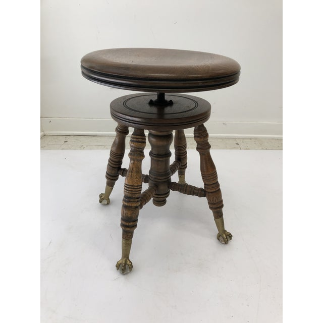 Antique Swivel Wood Piano Stool With Ball & Claw Feet For Sale - Image 4 of 13
