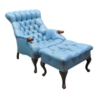 Chesterfeild Light Blue Leather Lounge Chair & Ottoman For Sale