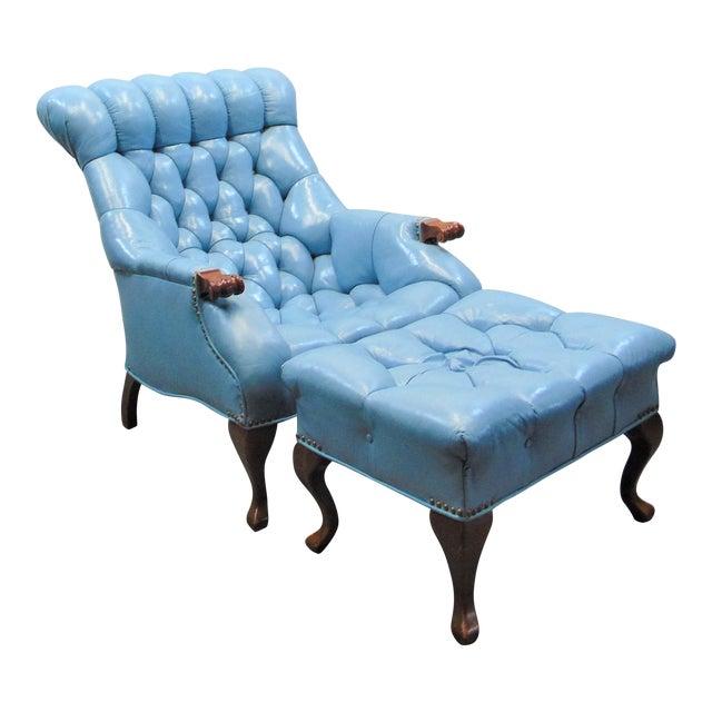 Chesterfeild Light Blue Leather Lounge Chair & Ottoman For Sale