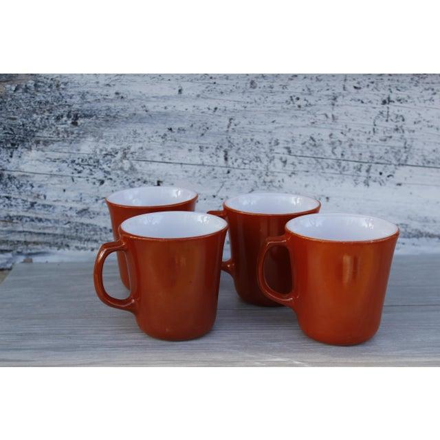 Orange Vintage Corningware Rust Orange Milk Glass Cups - Set of 4 For Sale - Image 8 of 9