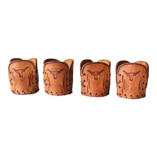 Vintage Tooled Leather Cup Holders - Set of 4 For Sale