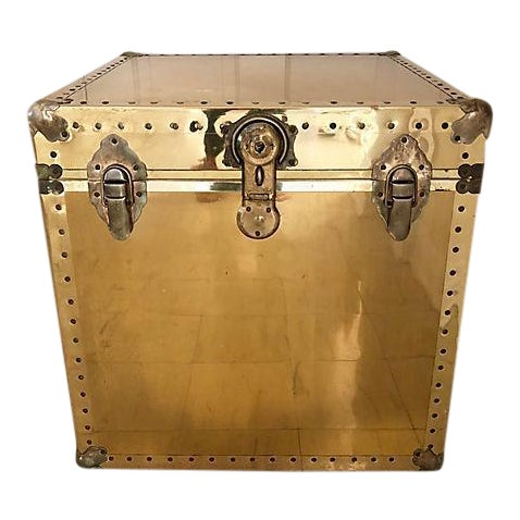 Brass and Wood Trunk / Side Table - Image 1 of 7