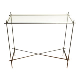 Contemporary Delicate Corten Wire Frame With Glass Chartreuse Linen