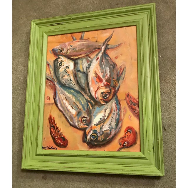 Nancy T. Van Ness Crawfish Original Framed Oil Painting For Sale - Image 11 of 13