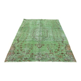 1960s Green Area Oushak Rug- 5′3″ × 7′8″ For Sale