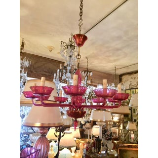 Vintage Cranberry Murano Glass 10 Armed Chandelier Preview
