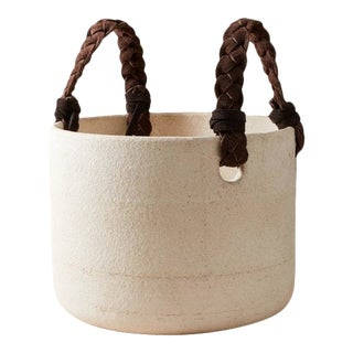 Contemporary Handmade Ceramic Dylan Basket Small - Raw Blanc For Sale
