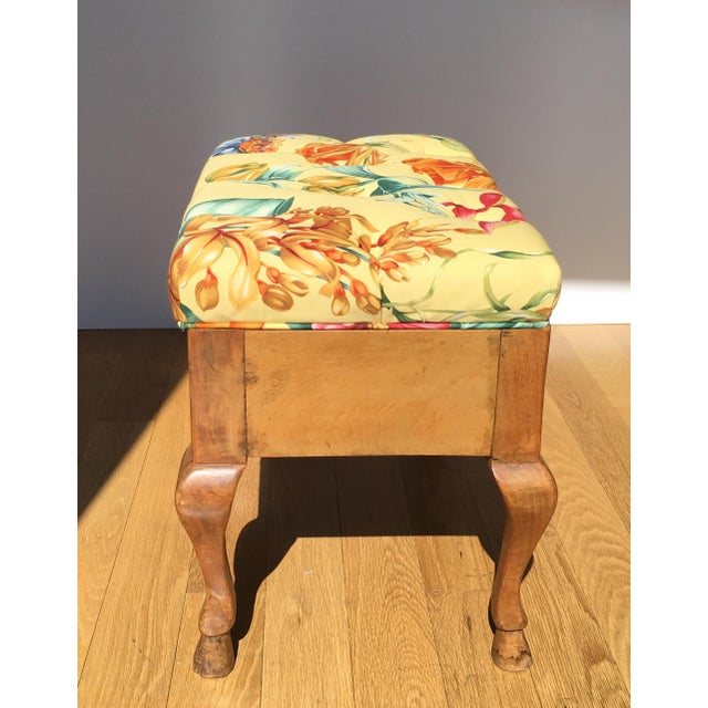 Antique Biedermeier Footstool With Yellow Floral Seat For Sale In Los Angeles - Image 6 of 6