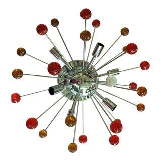 Modern Sputnik Murano Glass Multicolor Flush Mount For Sale