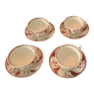 Four Antique Lusterware Soft Porcelain Cups and Saucers - Service For 4 For Sale