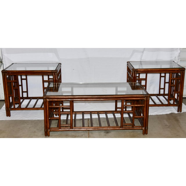 1980s Vintage McGuire Style Bamboo Rattan Glass Top Tables- Set of 3 For Sale - Image 12 of 12