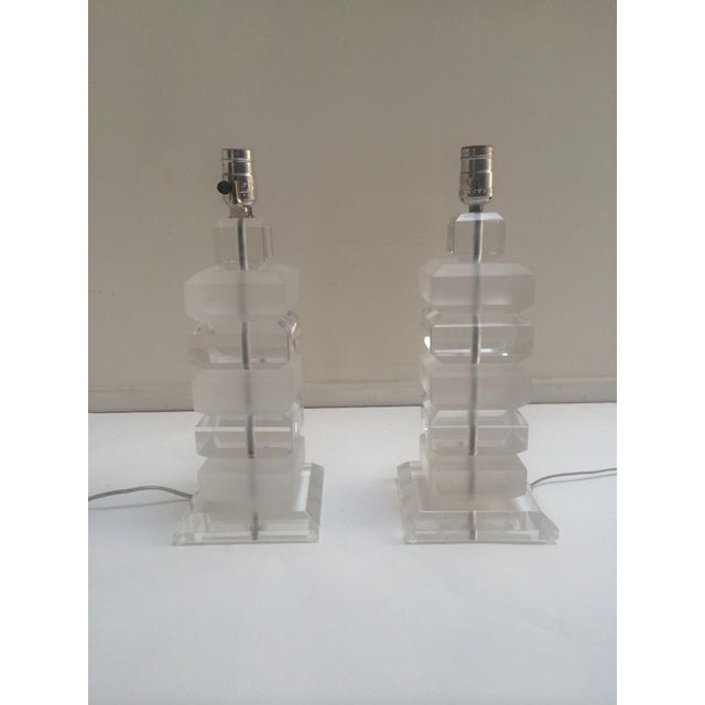 Clear & Opaque Lucite Lamps - A Pair - Image 2 of 3