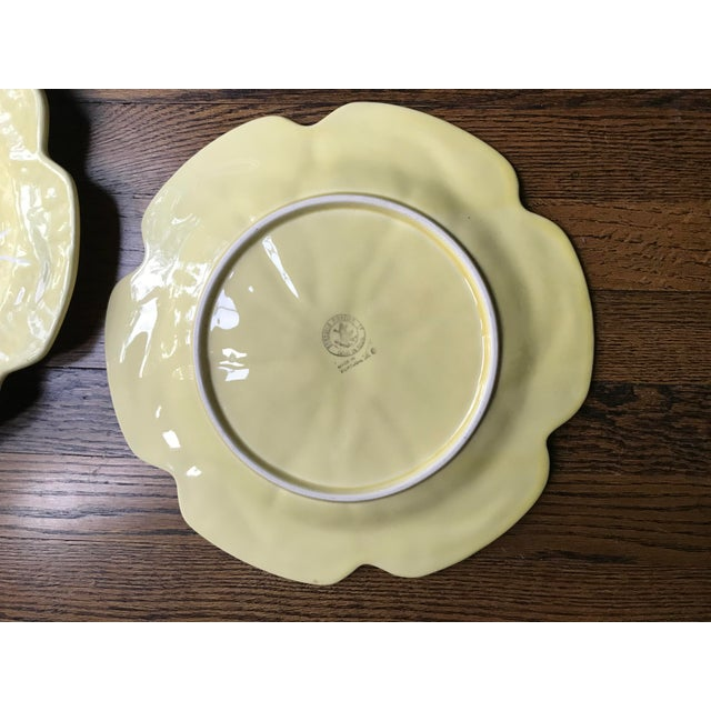 Vintage 1970s Bordallo Pinheiro Yellow Cabbage Leaf Chargers - Set of 4 For Sale In New York - Image 6 of 9