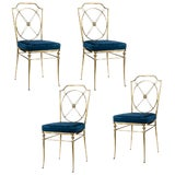 Image of French Bronze Side Chairs With Paw Feet, C.1920-1940, Set of 4 For Sale