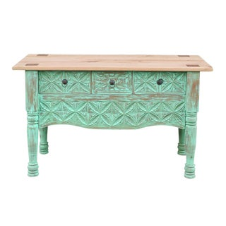 Mint Green Moorish Carved Console For Sale