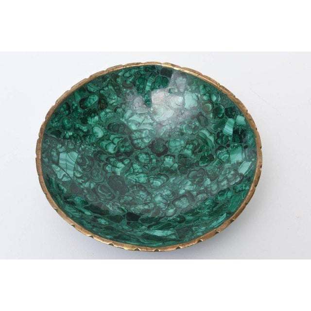 Mid-century Russian Malachite Bowl With Bronze Rim - Image 6 of 9