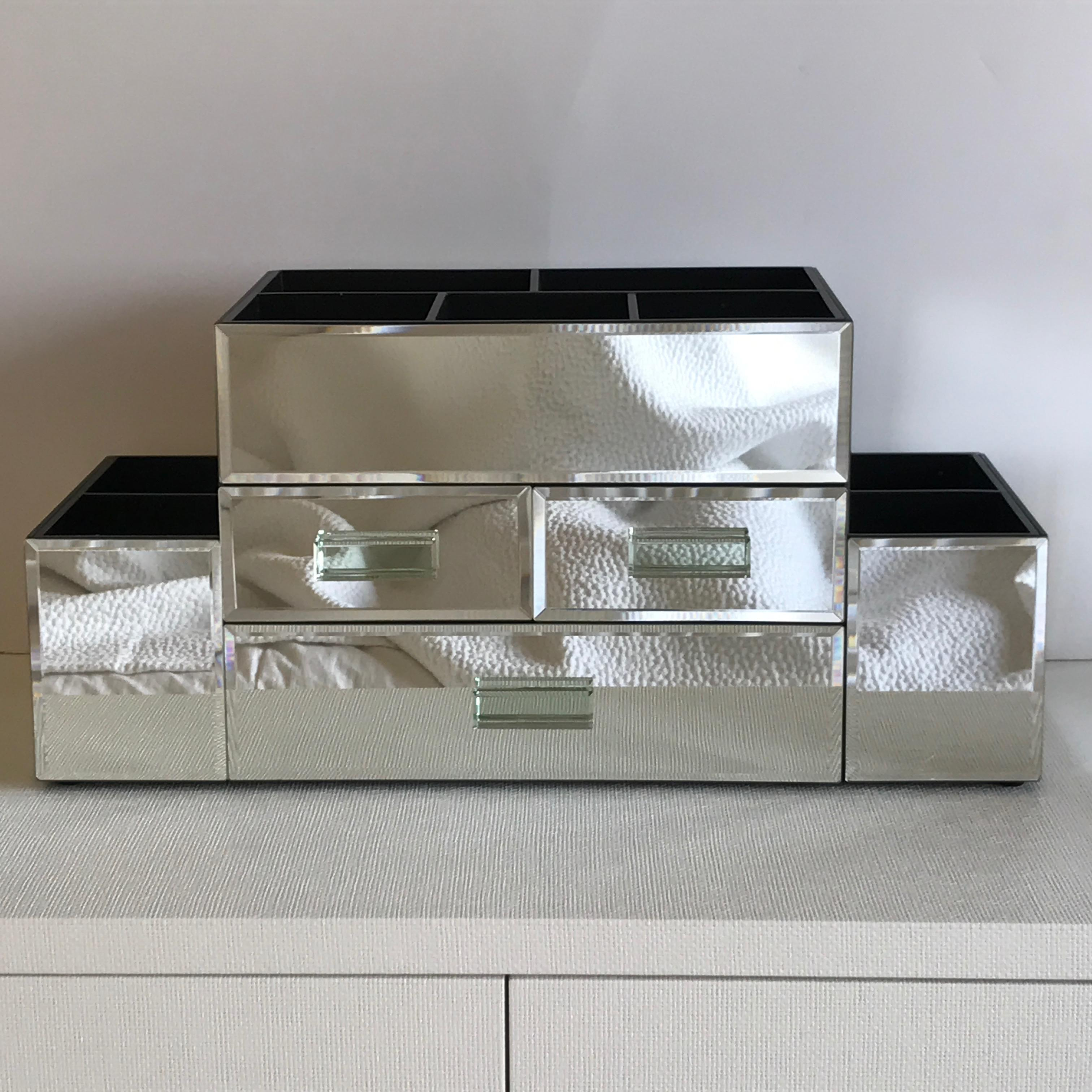 Pottery Barn Large Mirrored Makeup Organizer Box With Drawers (Brand New)    Image 2