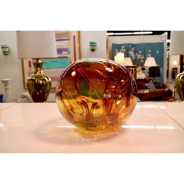 Orange Peter Bramhall Vintage Art Glass Ball For Sale - Image 8 of 10
