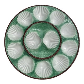 French Antique Majolica Scalloped Green and Brown Oyster Platter by Longchamp For Sale
