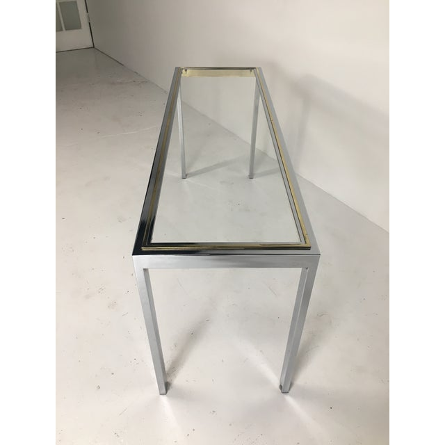Minimalism 20th Century Minimalist Chrome and Glass Parsons Console Table With Brass Accents For Sale - Image 3 of 13