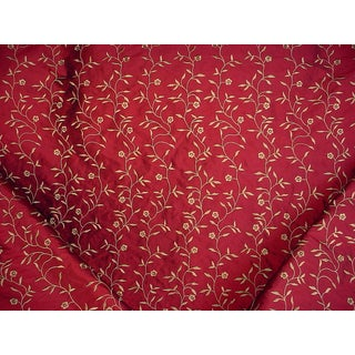 Boho Chic Kravet Couture 26807 Ruby Red Gold Embroidered Silk Upholstery Fabric - 12-7/8y For Sale