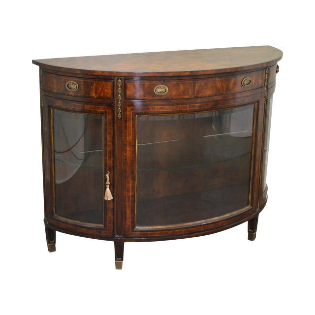 Theodore Alexander Flame Mahogany Regency Style Demilune Curio Base Commode Console - Image 1 of 10