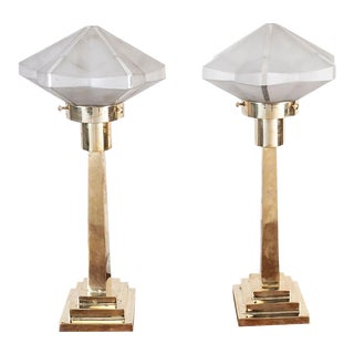 Late 1970s Frosted Glass and Brass Table Lamps - a Pair For Sale