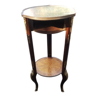 Frenchy Style 3 Legged Ornate Marble Topped Plant Stand For Sale