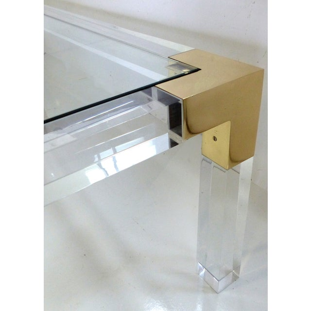 Charles Hollis Jones Lucite & Brass Coffee Table - Image 5 of 8