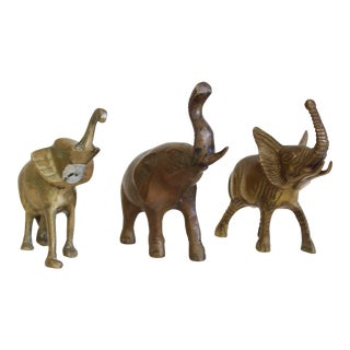 Set of Three Brass Lucky Elephant For Sale