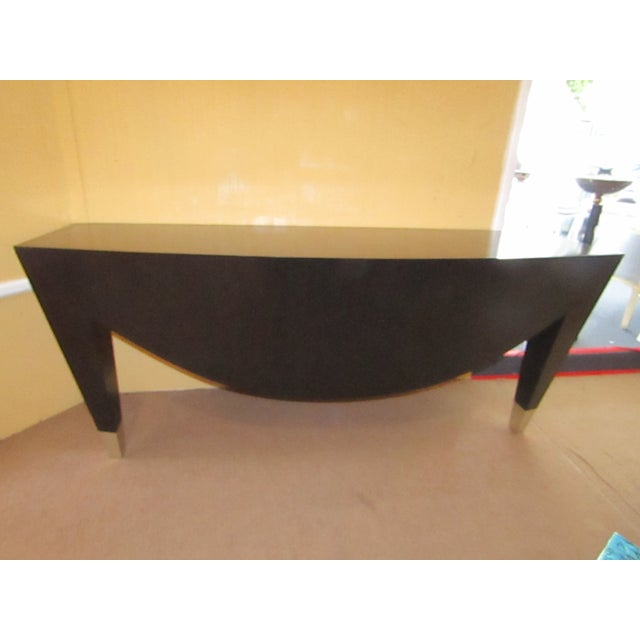 Modern Wood With Metal Cap Legs Wall Console For Sale - Image 4 of 6